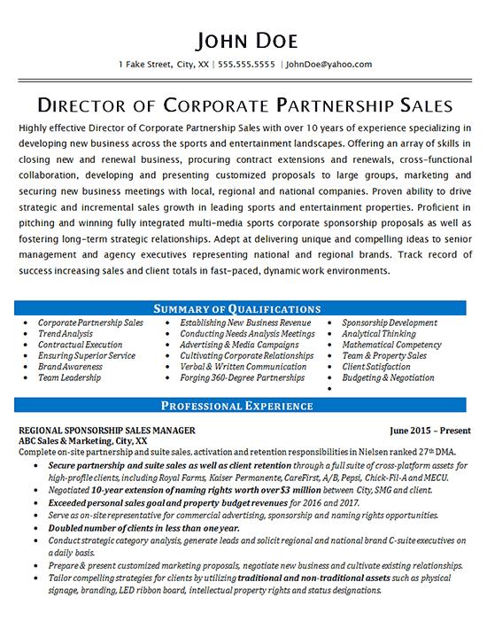 Corporate Sales Resume Example Partnership Development