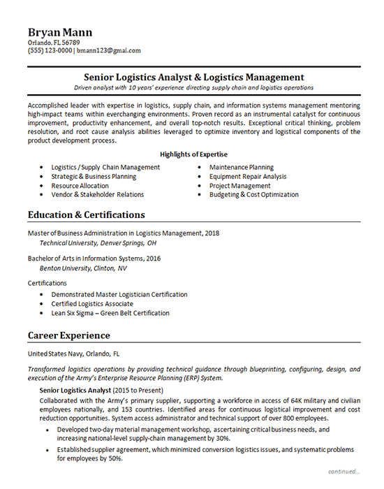 Logistics Analyst Resume Example Supply Chain Management