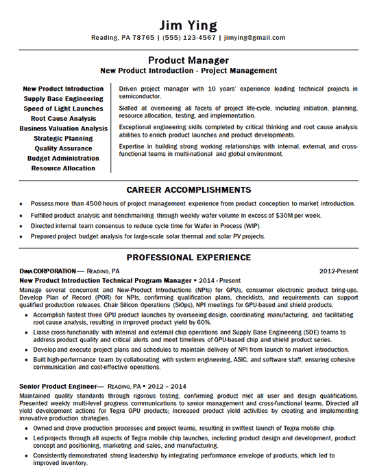 New Product Manager Resume Example Introduction