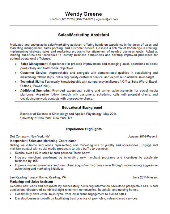 Marketing Assistant Resume Example  Sales Coordinator