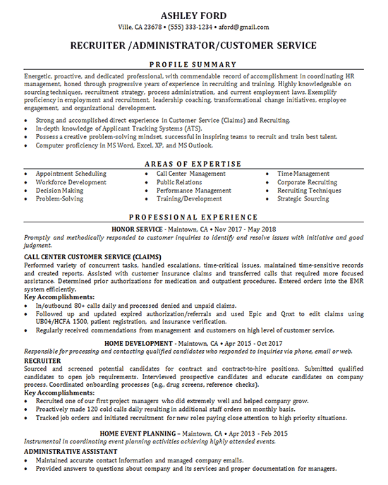 Recruiter Resume Example  Job Administrator