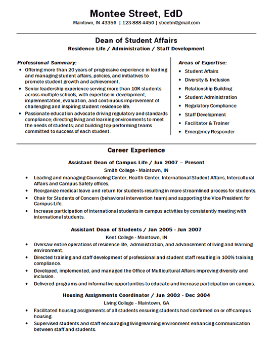 resume many years of experience