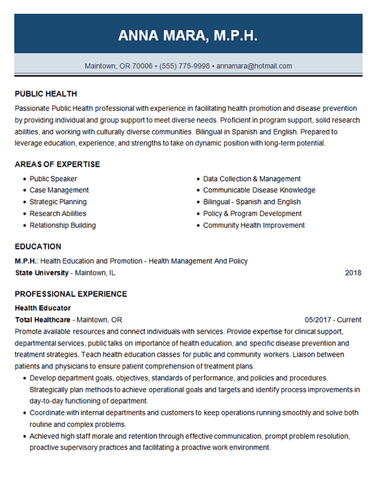 Publc Health Resume Example  Educator  Trainer