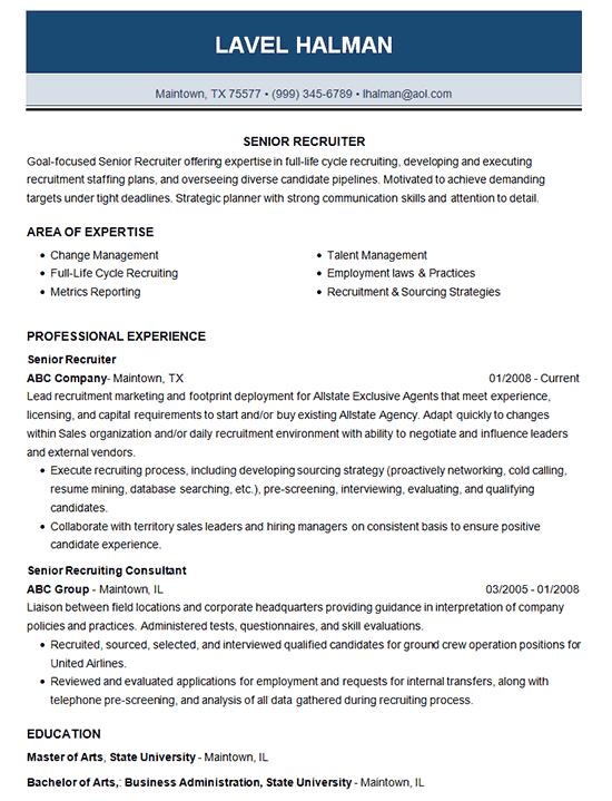 Senior Recruiter Resume Example  Employment  Recruiting