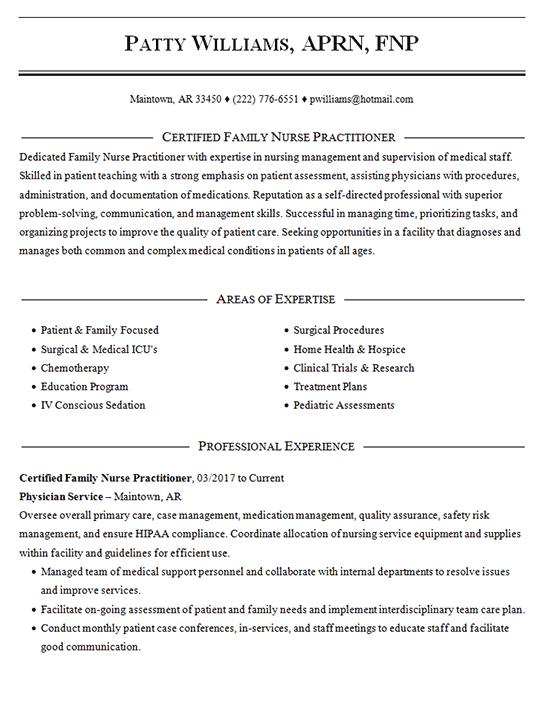 resume of a nurse