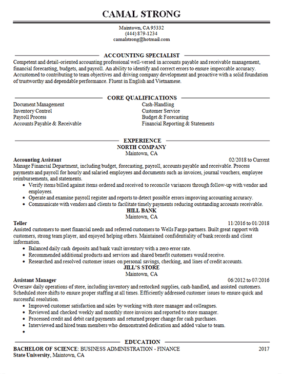Accounting Specialist Resume Example  Assistant