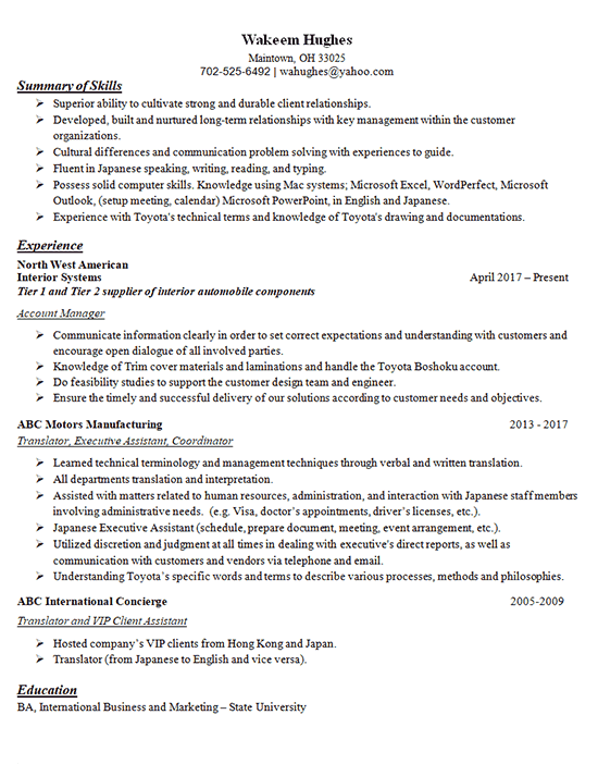 resume account