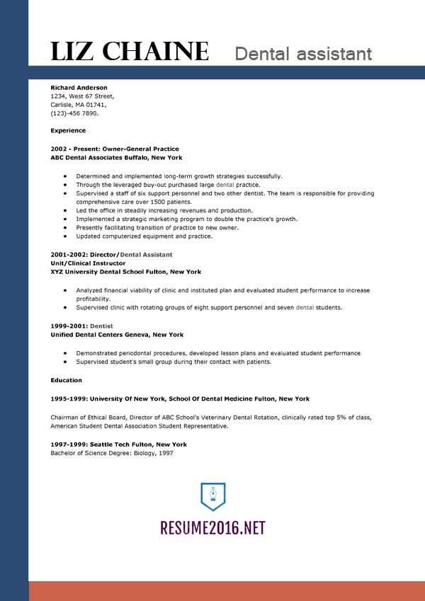 Dental Assistant Resume Template 2016 Get The Job!