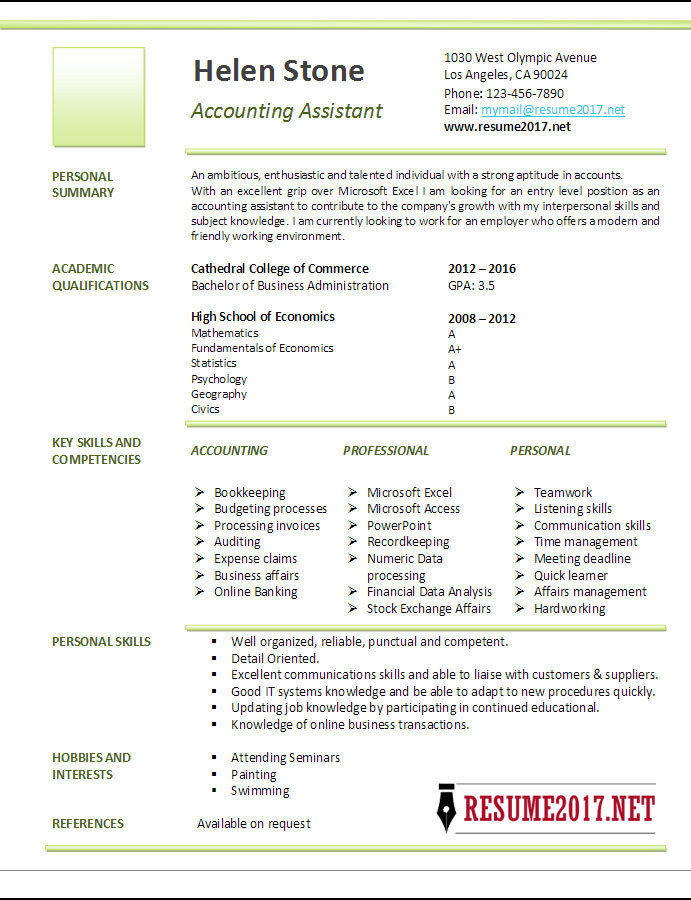 resume templates for accounting assistant