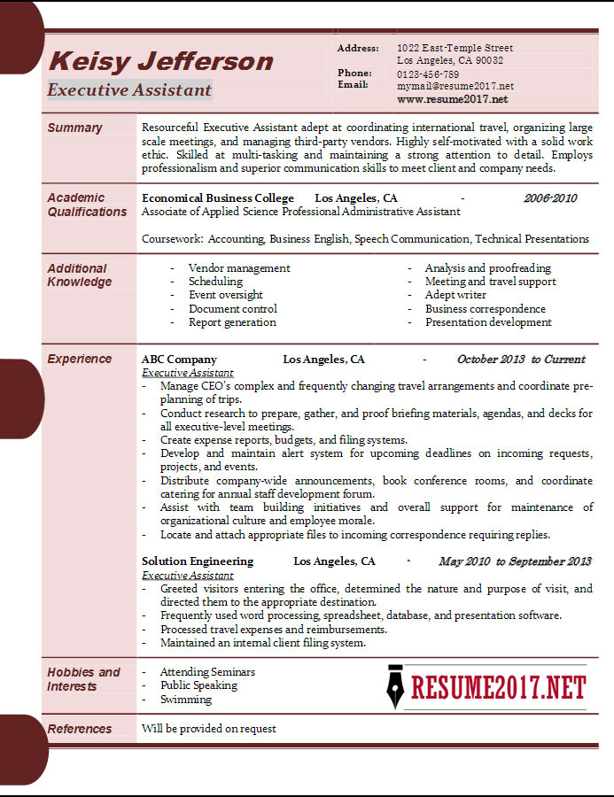 Executive Assistant Resume Samples 2017