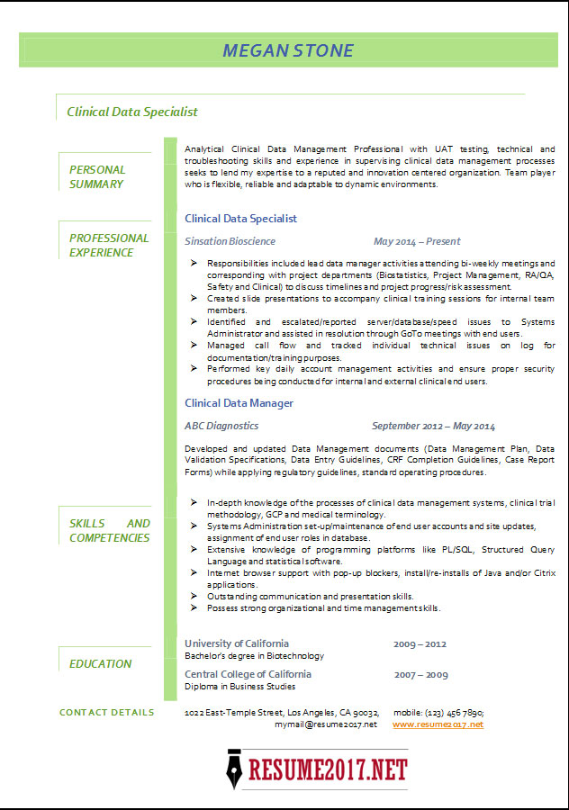 Clinical Data Specialist Resume 2017 Examples