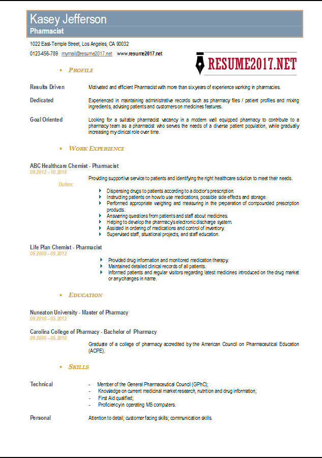 Pharmacist Resume 2017 Templates