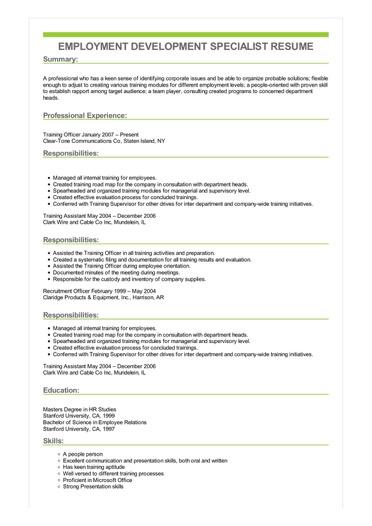 Sample Employment Development Specialist Resume