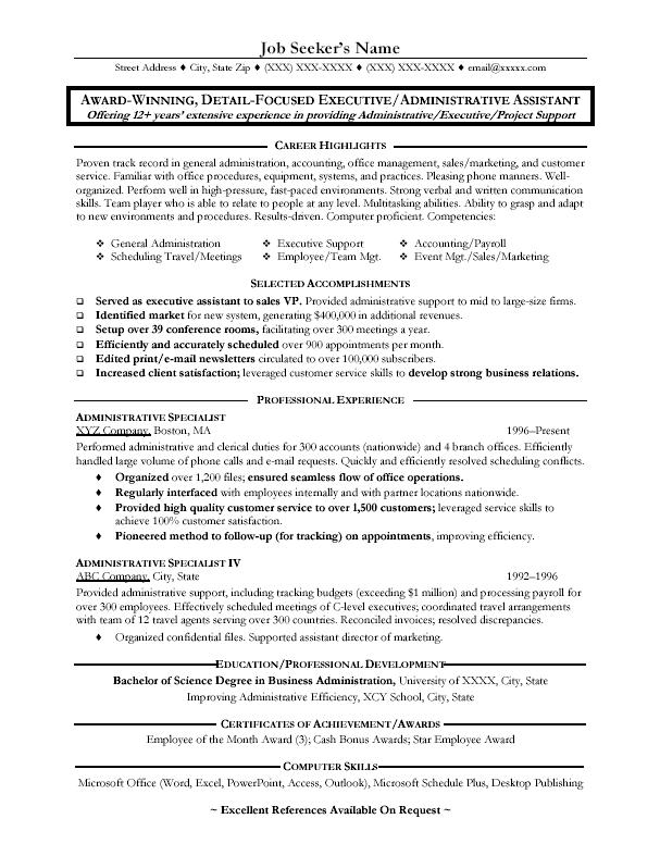 School Administrative Assistant Sample Resume Education