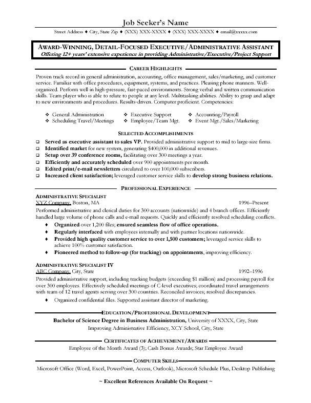 School Administrative Assistant Sample Resume Education  Administrative Assistant Sample Resume