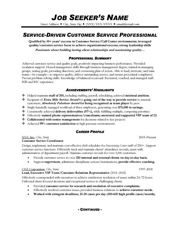 High Quality Customer Service Resume Sample Customer Service Representative  Customer Service Summary For Resume