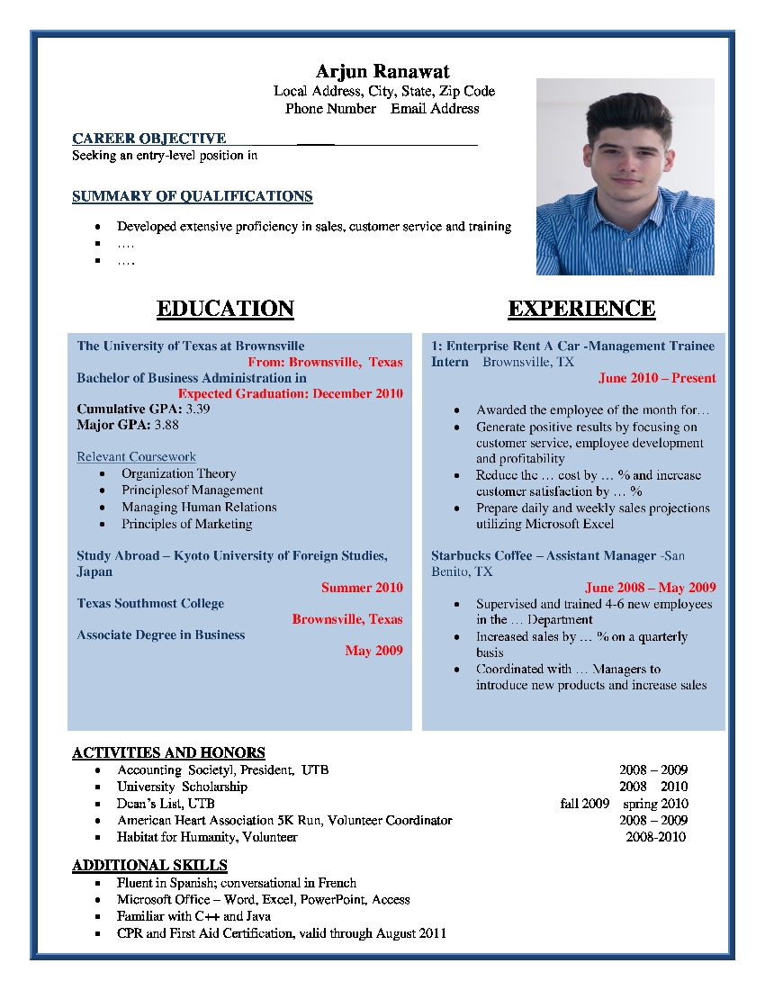 top most resume format