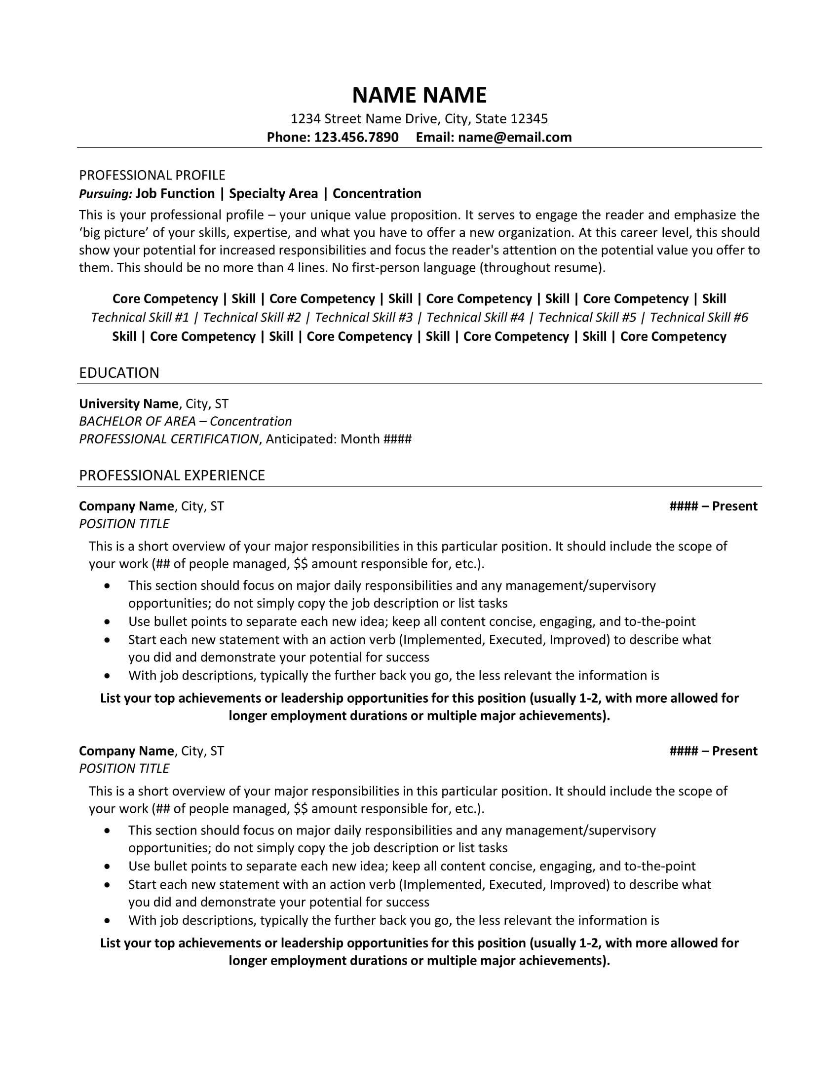 resume examples professionals
