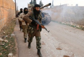 Jabhat al-Nusra, affiliated to al-Qaeda, took the technicals, guns and ammunition from the US-trained Division 30 in northern Aleppo Photo: Reuters