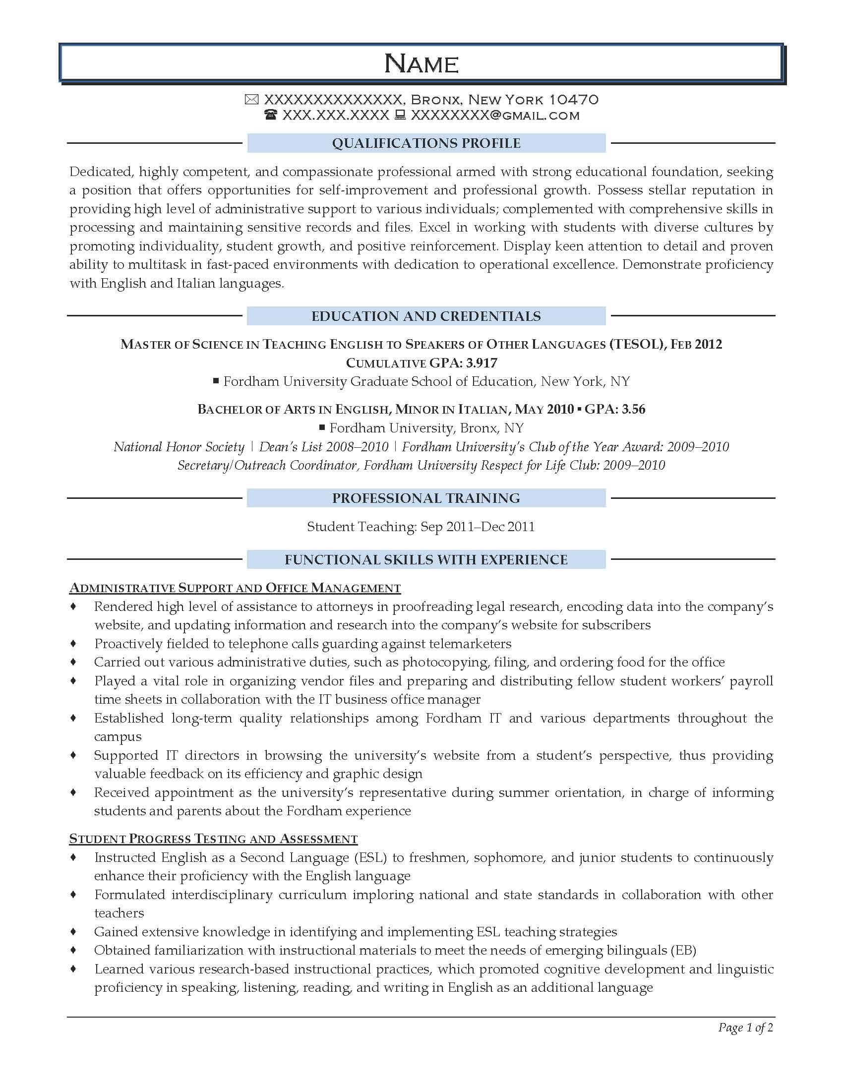 Entry Level Teacher Resume Examples