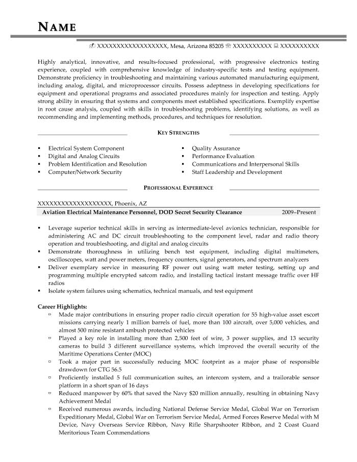 Security Clearance Resume Example Military Transition Resume