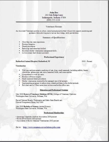 Veterinary Resume, Occupational:examples,samples Free edit