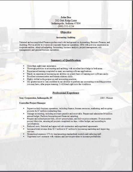 a format of a resume
