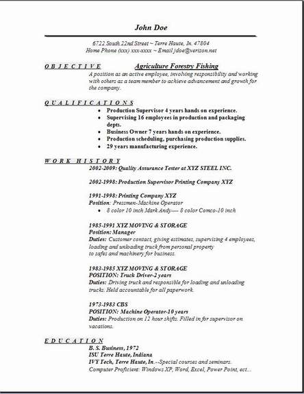 examples of a fishing resume