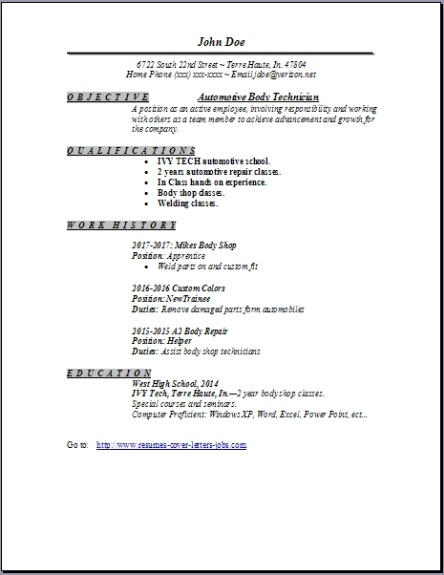 Auto Body Technician Resume Occupational Examples