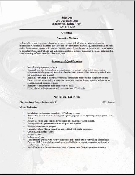 Sample Resume General Mechanic - Resume Templates