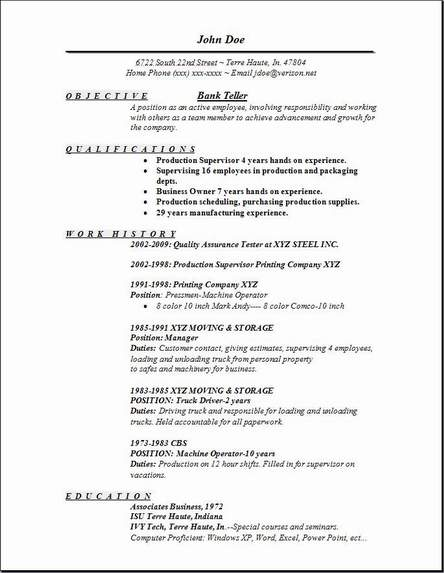 us sample resume for bank teller