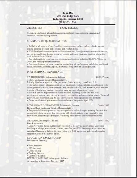 Sle Resume Banking Job Bank Treasurer