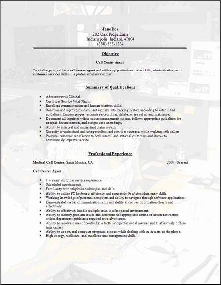 Call Center Resume Example