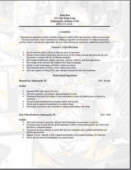 free cashier resume samples