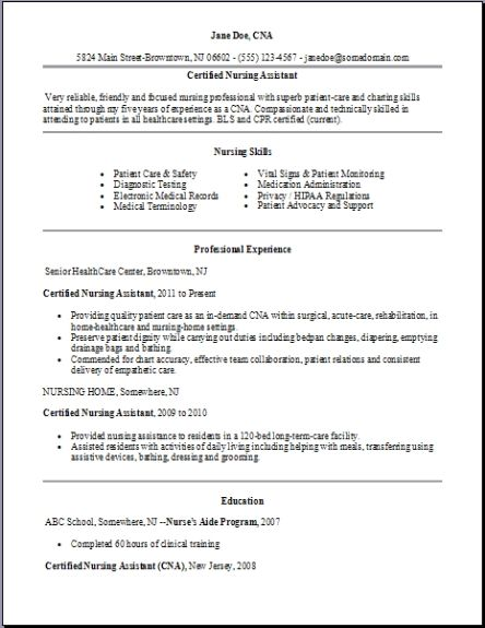 Certified Nursing Assistant Resume Examples Samples Free