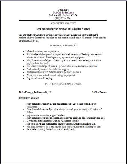 Computer Analyst Resume Occupational Examples Samples