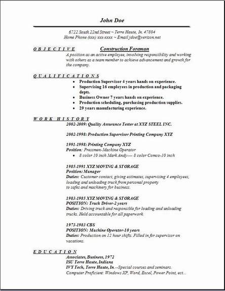 Construction Foreman Resume Examples Examples Of Resumes