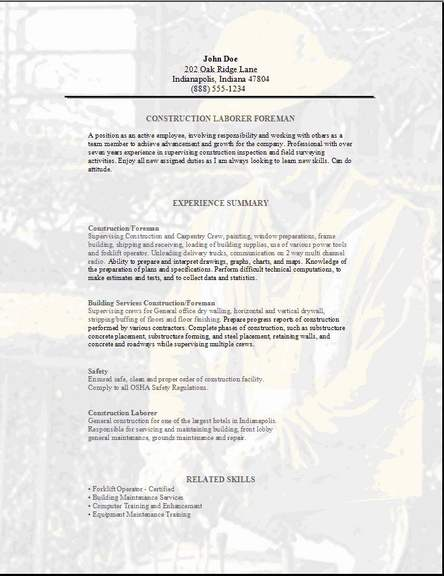 Skilled Labor Trades Resume Occupational Examples Samples