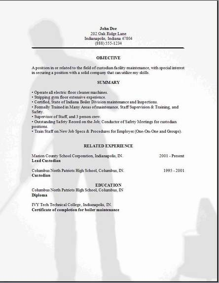 Custodian Resume Examples  Examples Of Resumes