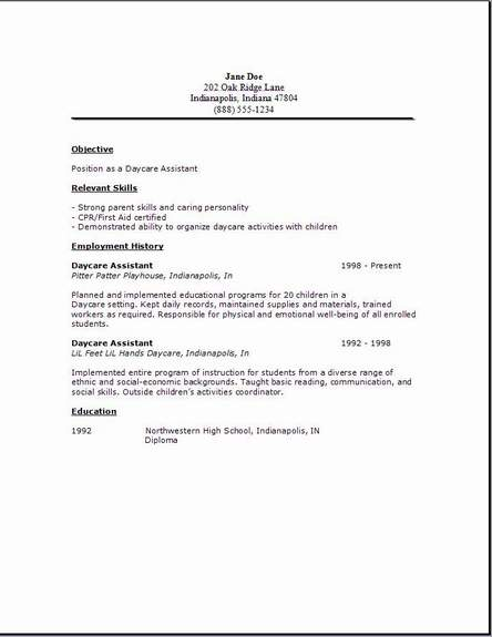 Daycare Resume Examples