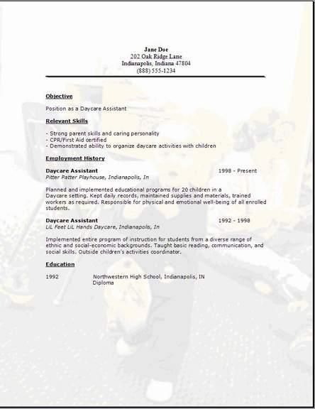 child care worker sample resume