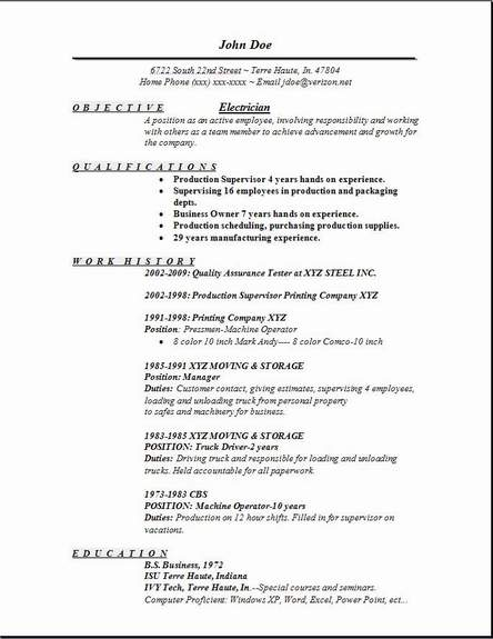 Electrician Resume Occupational Examples Samples Free Edit With Word