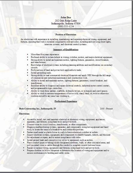 Electrician Resume Occupational Examples Samples Free