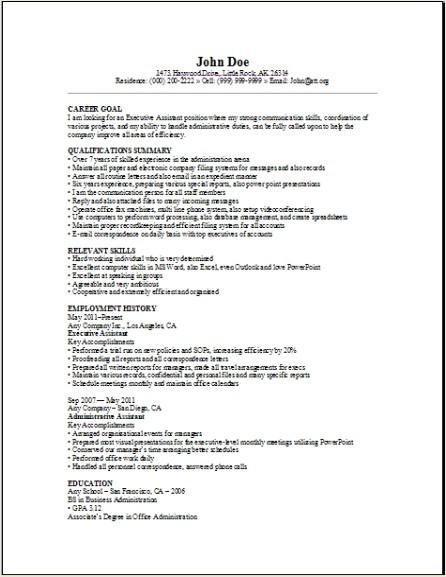 sample resume letter for job