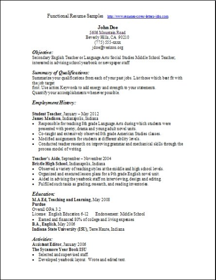 Example Of Functional Resume  Examples Of Resumes