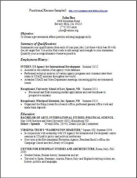 Functional Resume Format Example Functional Resume Template  Writing A Functional Resume