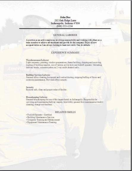 resume for general labour work