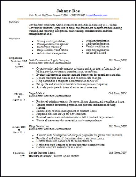 Government Resume Occupationalexamples samples Free