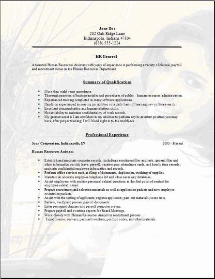 hr cover letter for resumes
