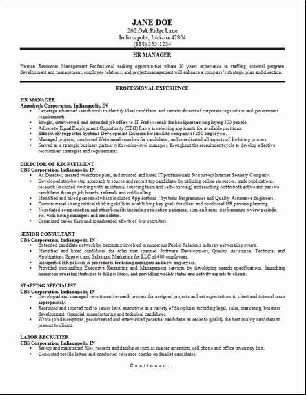 HR Management Resume Occupational Examples Samples Free